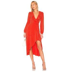 NWT TULAROSA Stevie Red Wrap Midi Dress, XXS